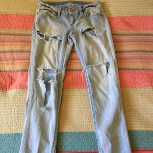 TOMMY GIRL 28 Ripped Skinny Jeans Raw Hem Pants